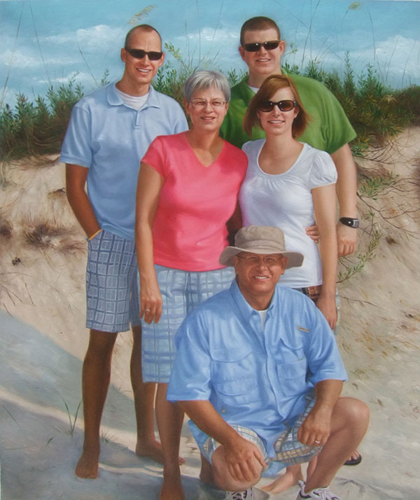 an oil painting of a family at the beach
