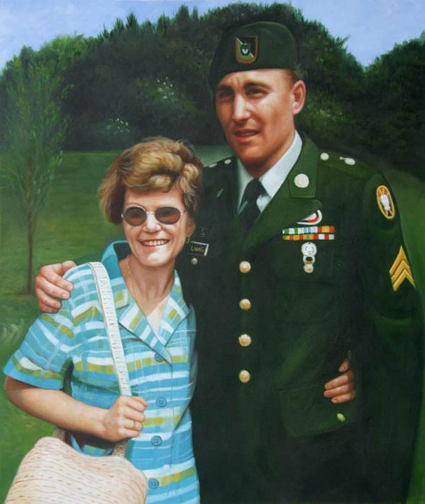 oil portrait of a soldier and his mom