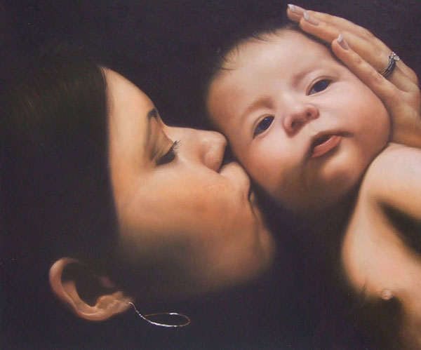 an oil painting of mother kissing her child