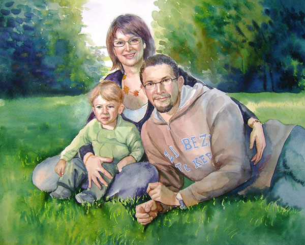 custom watercolor painting of family in the park
