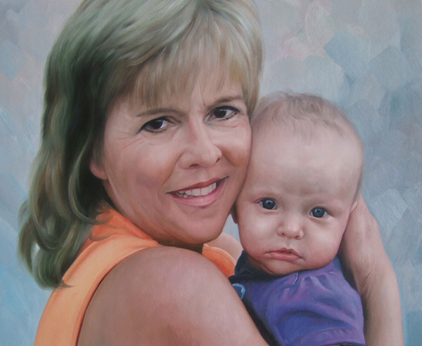 an oil painting of grandmother and her grandchild hugging