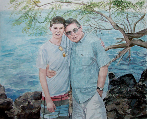 custom watercolor painting of a father and son hugging
