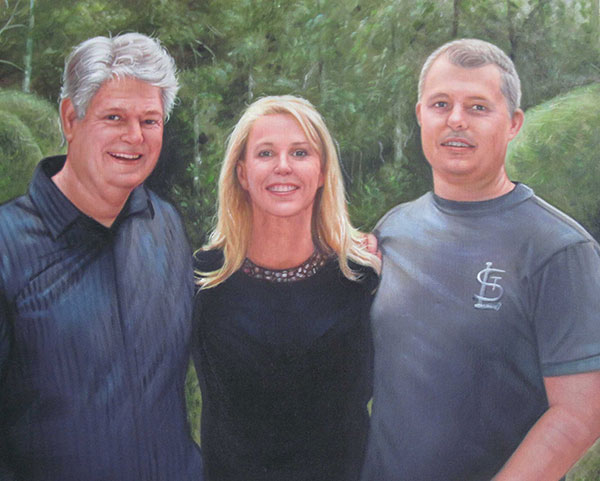 a custom oil painting of friends in the woods