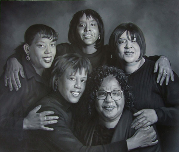 a custom oil painting of black friends photoshoot