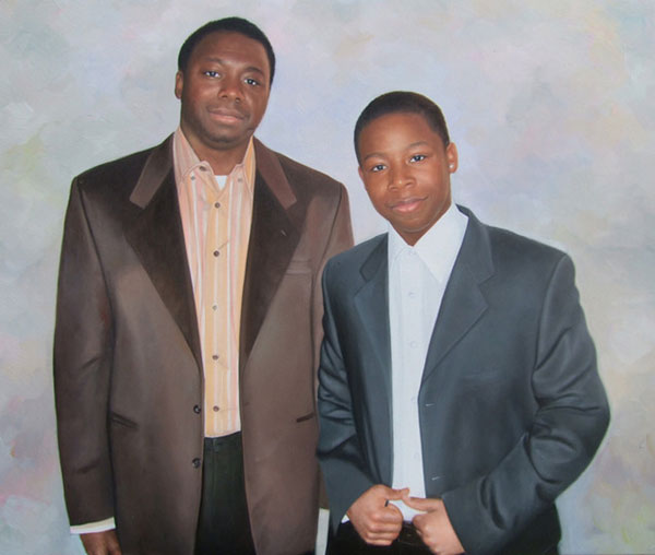 a custom oil painting of black friends in formal suits