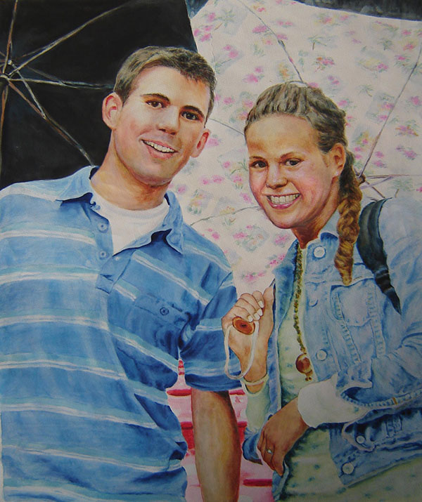 custom watercolor painting of a man and woman on a rainy day