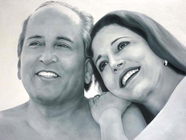 oil portrait of a happy couple