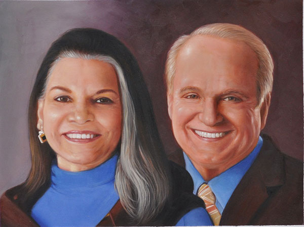 custom oil portrait of elder white couple