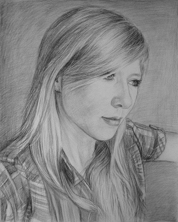 Portrait einer jungen Frau in Kohle gezeichnet