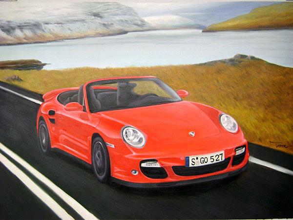 Auto gemalt in Ölfarben