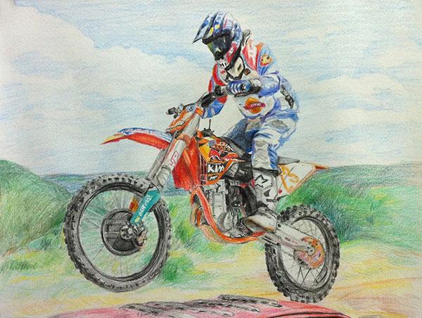 Motorradfahrer gezeichnet in Buntstift