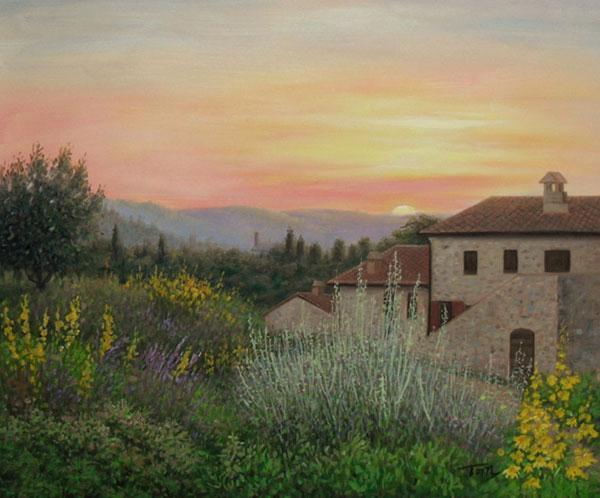 casa e paesaggio idea regalo dipinto olio da fotografia
