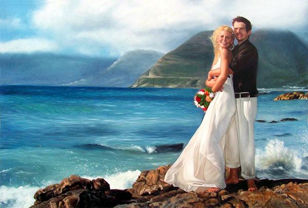 Hochzeitsfoto als Ölgemälde