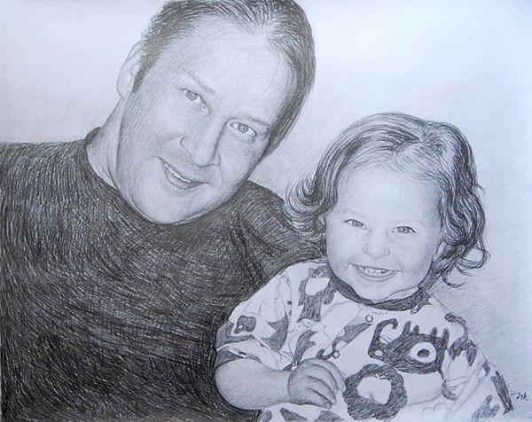 Zeichnung in Bleistift vom Familienfoto