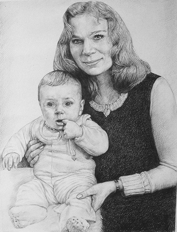 Mutter und Kind in Kohle gezeichnet