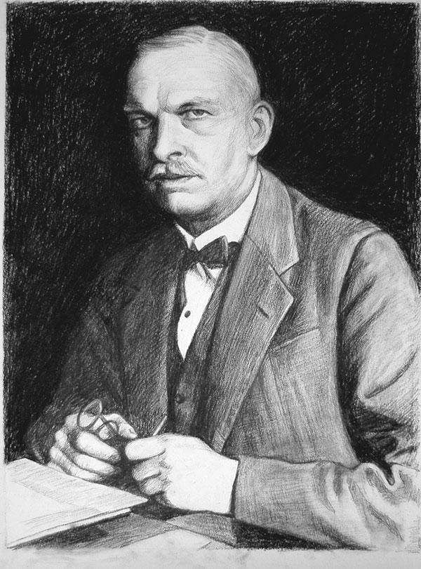 Zeichnung in Kohle von einem Mann