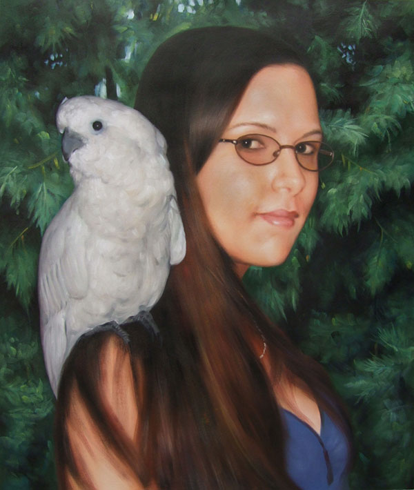 Custom oil portrait of a lady and a white parrot