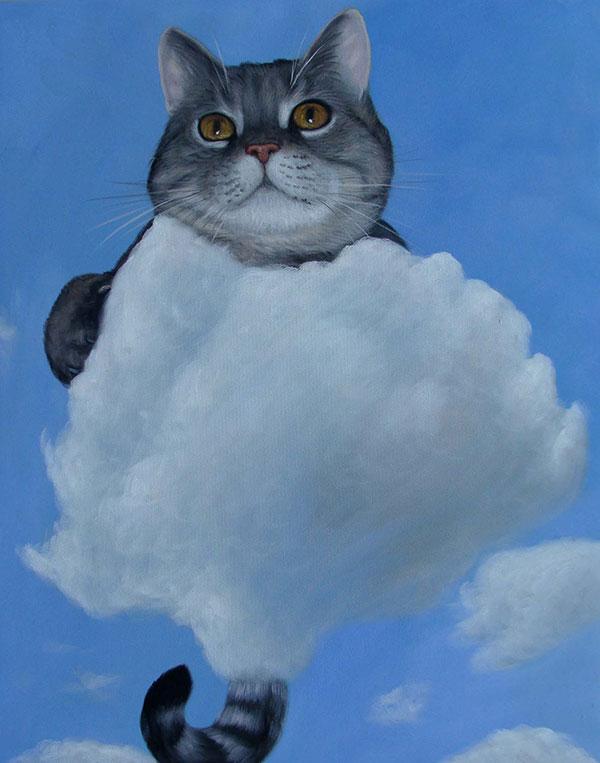 Katze im Himmel als Ölgemälde