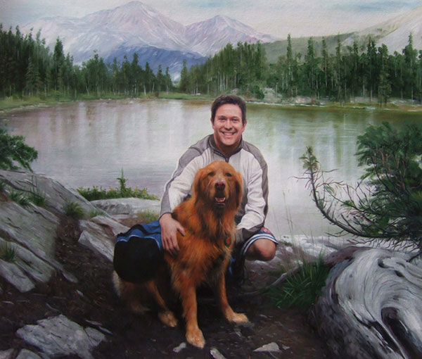 Custom oil painting of a man and brown dog near lake