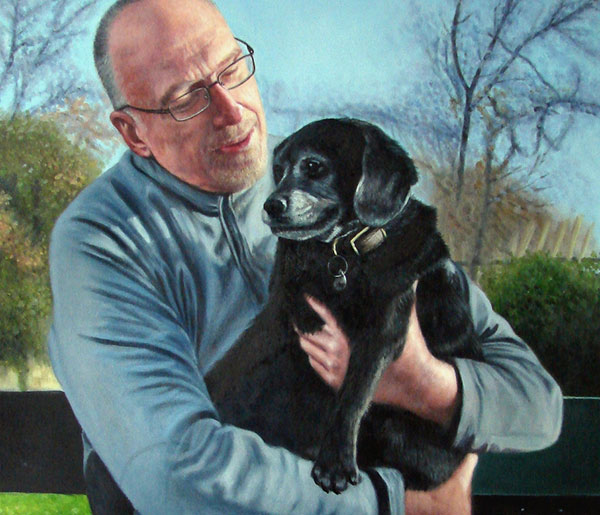 Custom oil painting of a guy holding a black dog outdoors