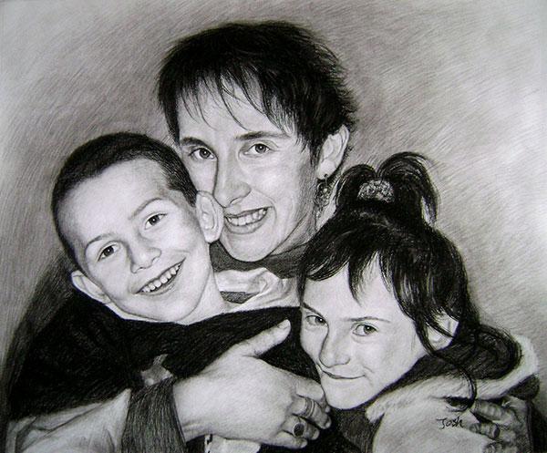 Portrait en noir et blanc d'une famille