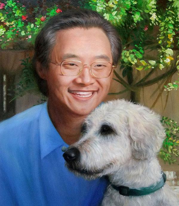 oil painting of Asian man hugging white dog