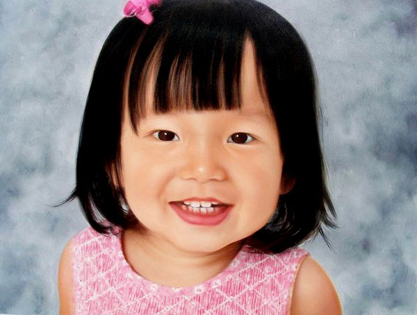 an oil painting of a little asian toddler