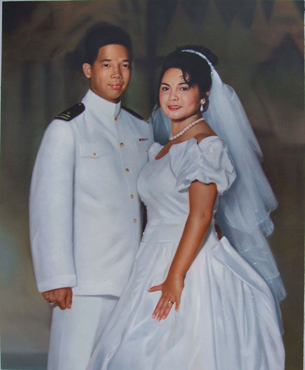 an oil painting of an asian wedding couple