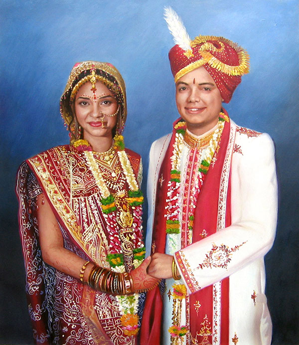 an oil painting of an indina wedding couple holding hands