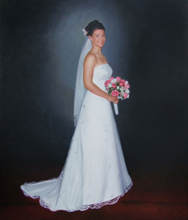 an oil painting of the bride with white and pink roses
