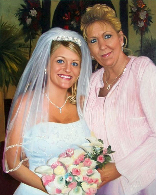 a custom oil painting of the bride and her mother