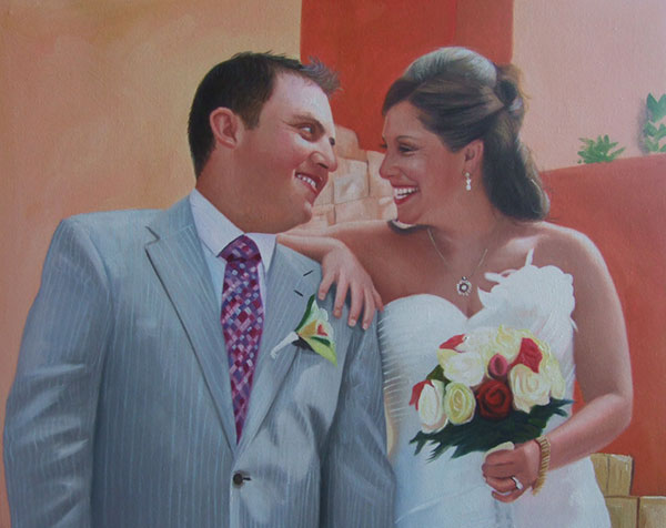 an oil painting of a wedding couple hugging