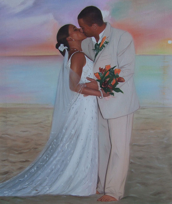 an oil painting of a black wedding couple hugging