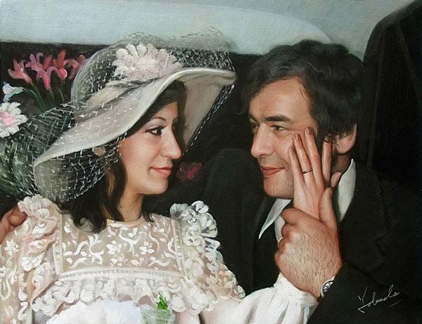foto del matrimonio come la pittura a olio