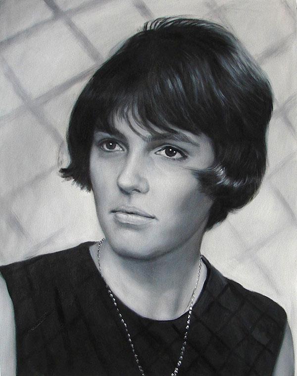 Junge Frau in schwarz weiß als Acrylgemälde