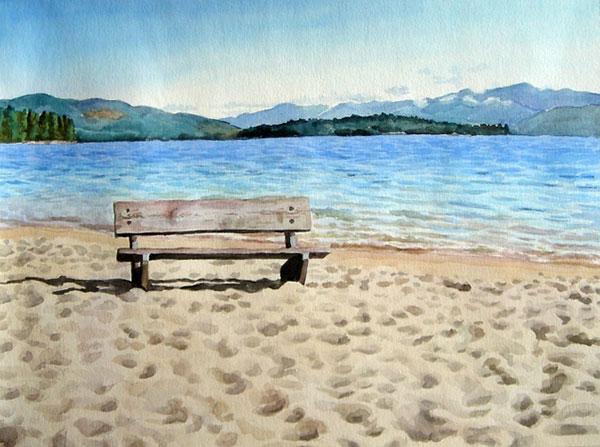 custom watercolor painting of the beach