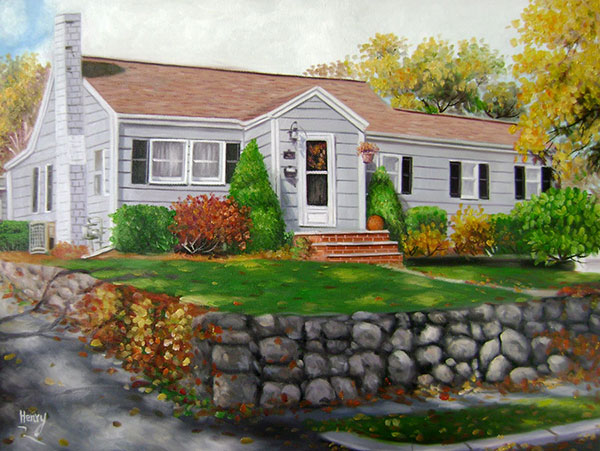 Custom oil handmade painting of a white wood house