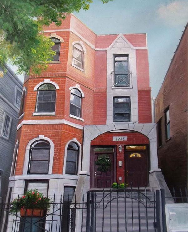 Custom oil handmade painting red brick house