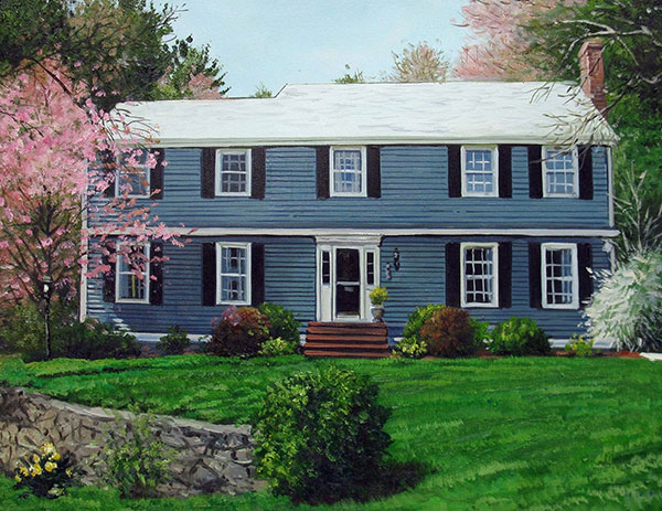 Custom oil painting  of a house with blue wooden trim
