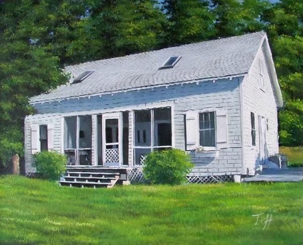 Custom oil painting of a wooden house with white trim