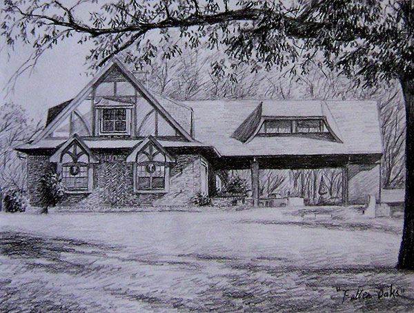 custom pencil drawing of a house