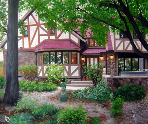 Custom oil painting of a red trim house in the woods