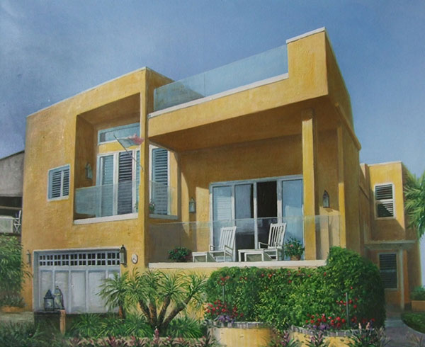 Custom oil painting of a modern yellow house
