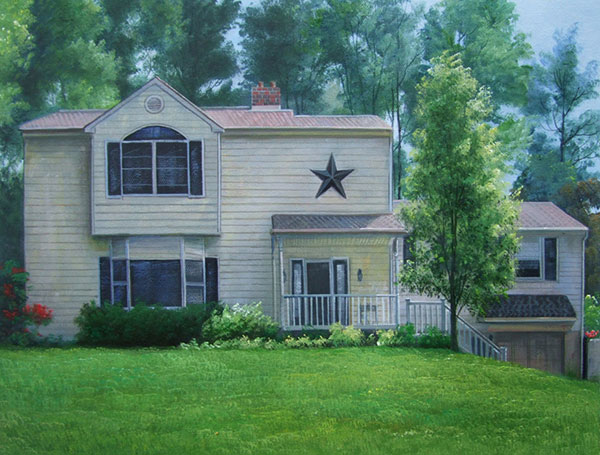 Custom oil painting of a white wooden house with a star