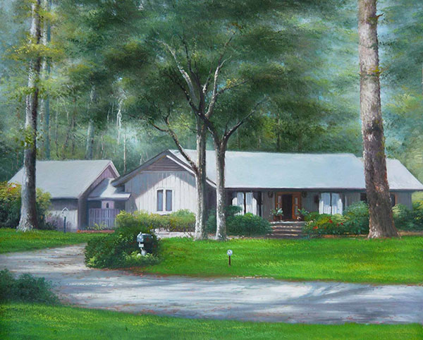 Custom oil painting of a white house in the woods