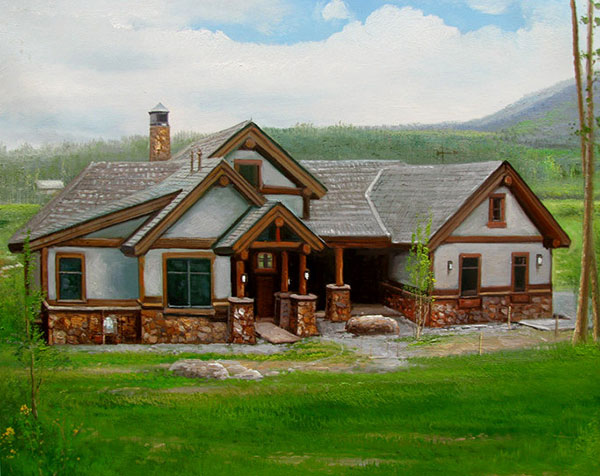 Handmade oil painting of a wooden house