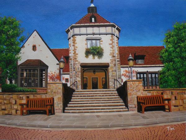 Handmade oil painting dark brown house