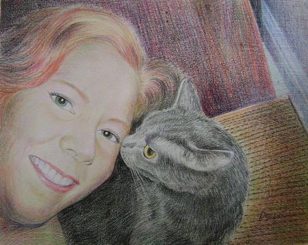 woman and cat pencil portrait
