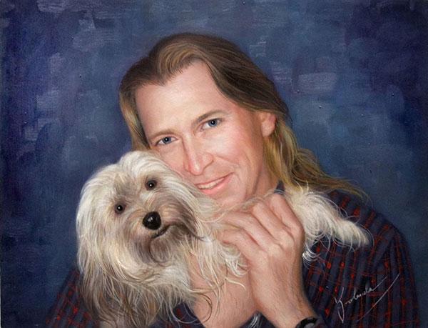 Custom oil painting of ownder hugging longhair dog