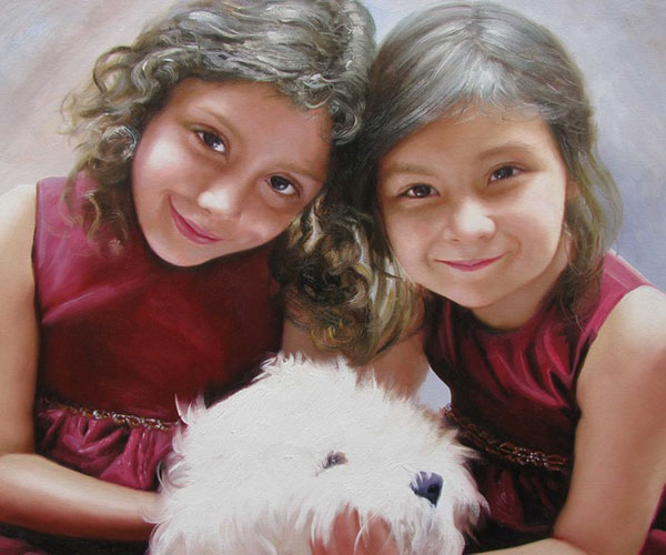 Custom oil painting of sisters petting white poodle